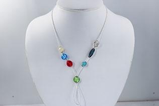 Tour De Cou En Perles De Conteria Multicolore Et Argent