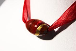 Collier Bulle Marron Et Rouge