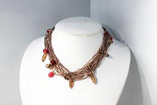 Parure Lacrime: Collier, Bracelet Et Boucles d'oreilles Marron Et Rouge