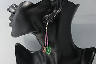 Boucles d'oreilles Conteria Prune Et Vert