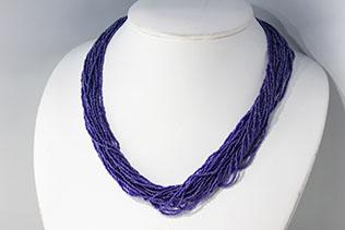 Collier En Perles De Conteria Bleu