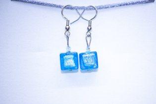 Boucles d'oreilles Petit Glaçon Bleu