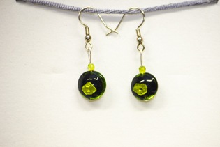 Boucles d'oreilles Sole Noir Et Vert