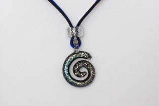 Pendentif Spirale Vert et Bleu Cobalt