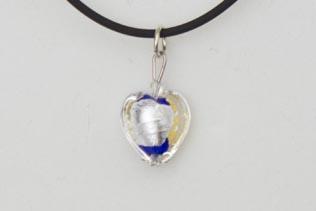 Pendentif Petit Coeur Bleu Roi Or et Argent