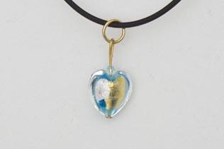Pendentif Petit Coeur Bleu Or et Argent