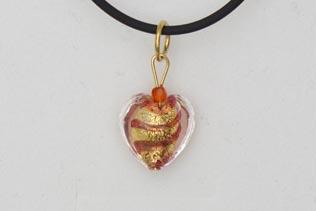 Pendentif Petit Coeur Ruban Rose