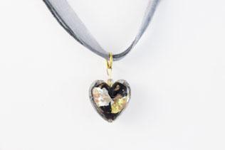 Pendentif Coeur Noir, Or Et Argent