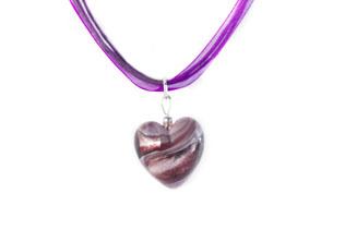 Pendentif Coeur Violet Ruban Violet