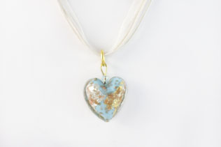 Pendentif Coeur Bleu Azur Clair, Or Et Argent