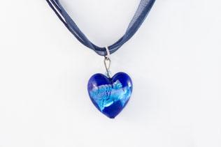 Pendentif Coeur Bleu Ruban Bleu Azur