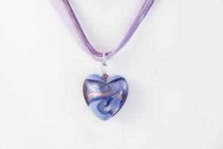 Pendentif Coeur Bleu Ruban Bleu Et Rose