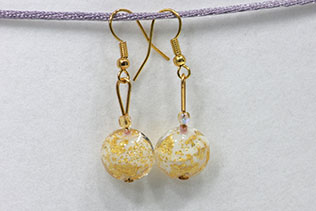 Boucles d'oreilles Sole Blanc Pailletté Or