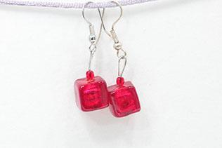 Boucles d'oreilles Petit Glaçon Rouge Grenade