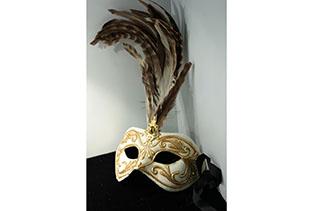 Masque De Venise Colombina Blanc Et Doré