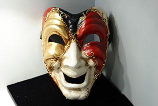 Masque De Venise Volto Rouge Noir Blanc Et Doré
