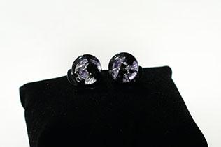 Boucles d'oreilles Clip Tacheté Violet Et Noir