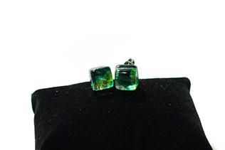 Boucles d'oreilles Clou Vert Pomme Et Vert Menthe