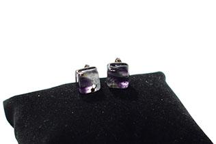 Boucles d'oreilles Clou Tacheté Violet Et Noir