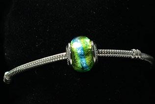 Perle Ronde Bleu Et Vert