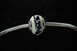 Perle Ronde Blanc Moucheté