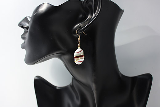 Parure Galetto: Collier Et Boucles d'oreilles Blanc Et Prune