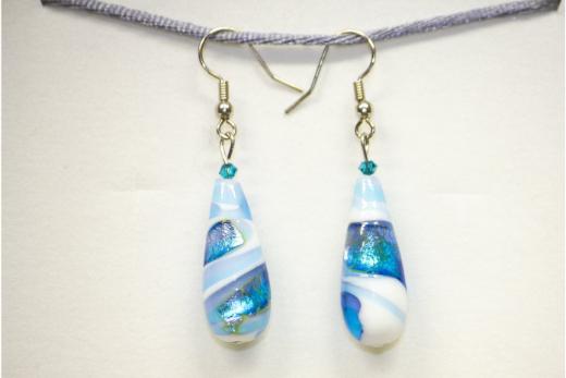 Boucles d'oreilles Grande Goccia Bleu Et Blanc