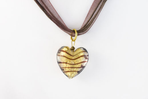 Pendentif Coeur Or Ruban Marron