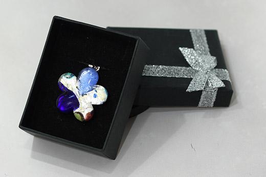 Pendentif Fleur Bleu Saphir Et Bleuet