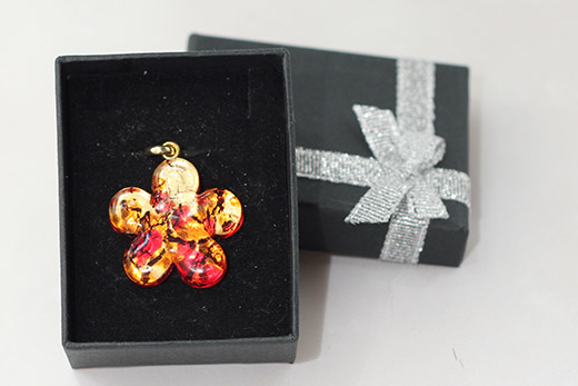 Pendentif Fleur Rouge Et Orange
