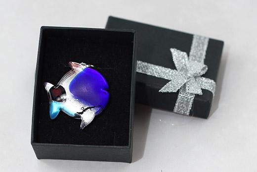 Pendentif Poisson Bleu Saphir Et Turquoise