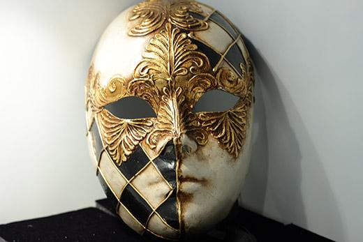Masque De Venise Volto Noir Blanc Et Or