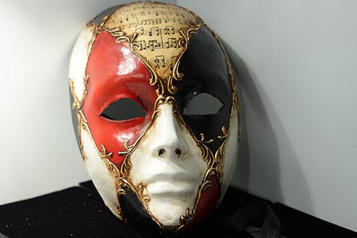 Masque De Venise Volto Noir Rouge Et Blanc