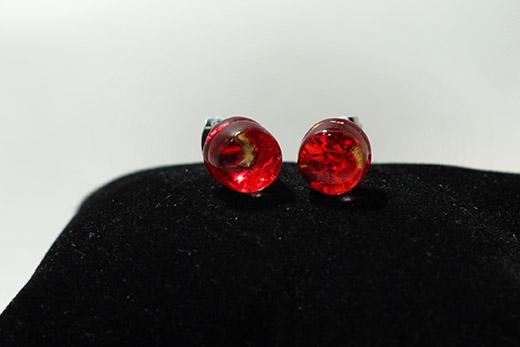Boucles d'oreilles Clou Rouge Feu