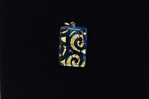 Pendentif Elisa Bleu Azur Arabesques Or