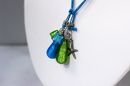 Parure Ange: Boucles d'oreilles Et Collier Bleu Et Vert
